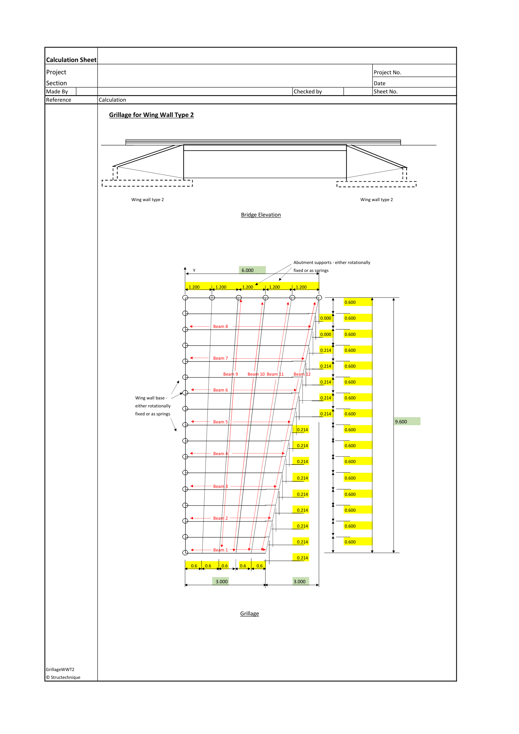 Grillage for bridge wing wall type 2 asrosoft store a grillage analysis for a bridge wing wall type 2 see extract supported on fixed or rotational springs using a stiffness matrix based on 3 degrees of ccuart Choice Image